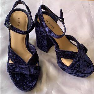 Torrid Purple Velvet Block Heels